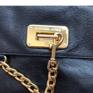 Michael Kors Bags - MICHEAL KORS black leather w/gold chain detail